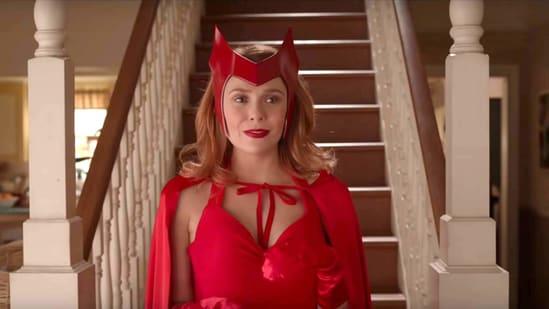 Elizabeth Olsen in a still from WandaVision.