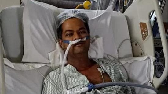 Punjab Police deputy superintendent of police Harjinder Singh, had tested positive on April 6 and had been undergoing treatment for Covid-19 at SPS Hospital, Ludhiana. On May 10, the hospital authorities said that Harjinder's lungs had suffered irreparable damage and his life could be saved only through a lung transplant. (HT file photo)