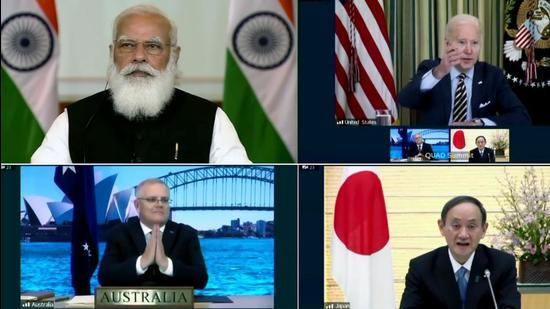 PM Narendra Modi takes part in the First Quad Leaders' Virtual Summit with US President Joe Biden, Australian PM Scott Morrison and Japanese PM Suga on March 12, 2021. (HT file)