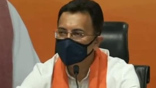 Congress leader Jitin Prasada at the BJP headquarters in New Delhi after joining the party.