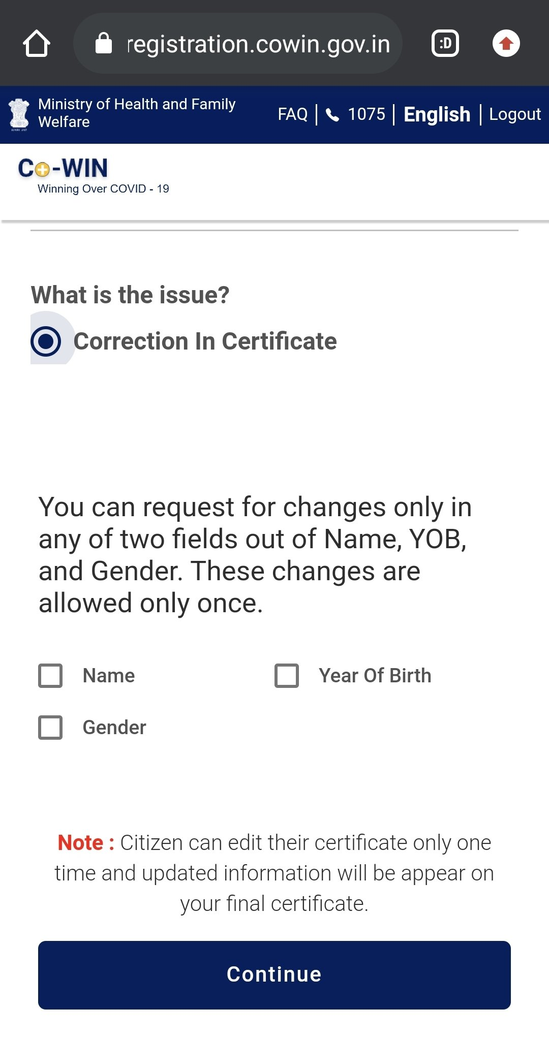 The option for correction is for only one time.