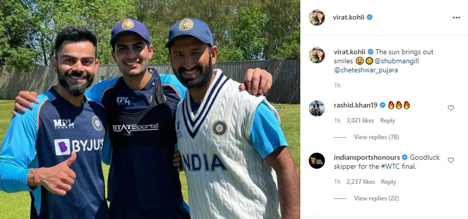 Rashid Khan replied to Virat Kohli's Instagram post