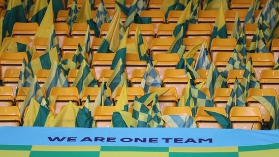 FILE PHOTO: Norwich flags on seats before the match.(REUTERS)
