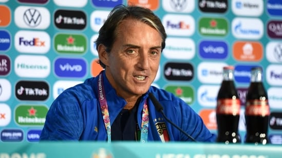 Italy coach Roberto Mancini during the press conference.(Handout via REUTERS)