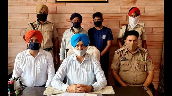 The accused in the STF custody in Ludhiana on Thursday. (HT Photo)
