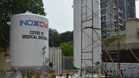 Two oxygen storage tanks have been set up in the premises of Babasaheb Ambedkar Hospital and DDU hospital in New Delhi. (Image used for representation). (HT PHOTO.)