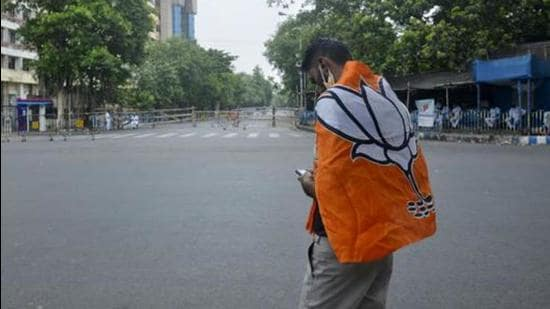 A BJP supporter on the election result day of the West Bengal Assembly election, Kolkata, 2021 (ANI)