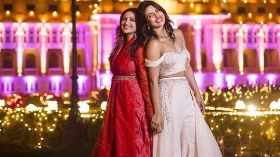 Parineeti Chopra and Priyanka Chopra at latter's wedding in 2018.