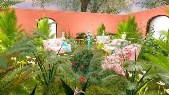 This computer generated image shows a Gucci virtual garden on Roblox. Anyone whose avatar is traipsing around the Roblox online game platform these days might run into other avatars sporting Gucci handbags, sunglasses or hats. The digital-only items are part of the Gucci's time-limited collection for Roblox, as the Italian fashion house that prides itself on hand-craftsmanship is dipping its toes into an expanding virtual space where many of its youngest fans already are at home. (Roblox via AP)(AP)