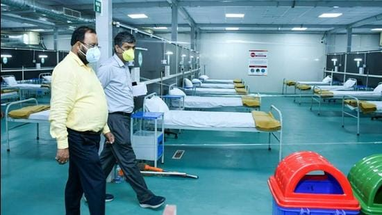 Assam health minister Keshab Mahanta (first from left) inspects the Covid-19 hospital at Sarusajai Stadium in Guwahati on Wednesday, a day before its inauguration. (Photo: Keshab Mahanta/Twitter)