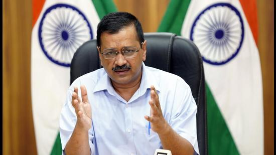 Delhi Chief Minister Arvind Kejriwal addressing a video press conference, in New Delhi, India, on Friday, May 28, 2021. (HT Photo) (HT Photo/HT PHOTO)