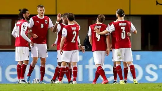 Denmark footballers celebrate a goal(AP)