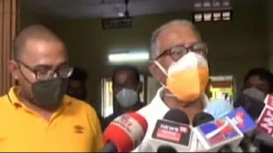 Dr Basanta Kumar Goswami talking to journalists on Thursday about the attack on him in Assam's Biswanath district. (SOURCED.)