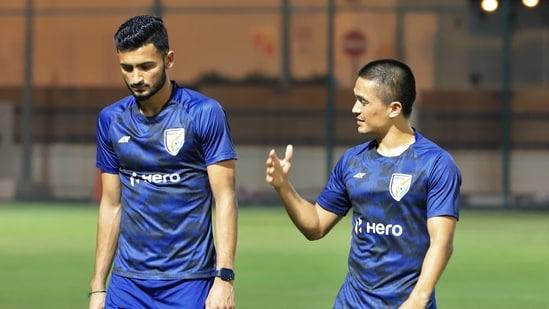 Manvir Singh (L) and Sunil Chhetri (R)(AIFF)