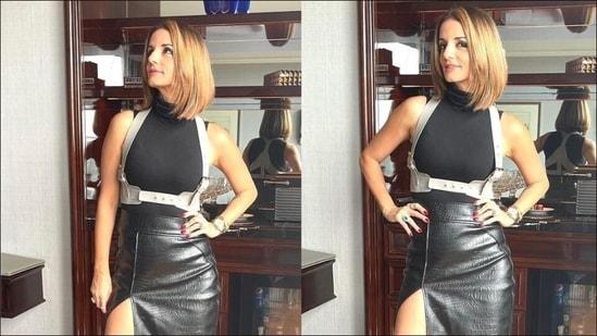 Sussanne Khan brings back vegan-leather skirt trend ahead of Fall/Winter 2021(Instagram/suzkr)