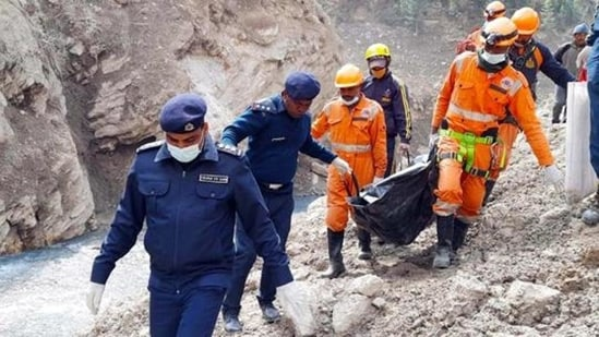 Search and rescue operations for the missing in Chamoli, Uttarakhand, after a cloudburst in February this year. (File photo)(HT_PRINT)
