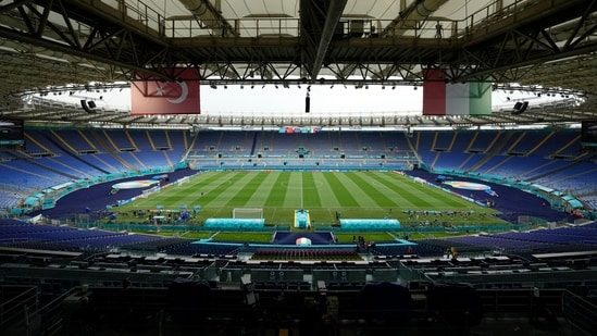 A view of the stadium prior to an Italian national team training session.(AP)