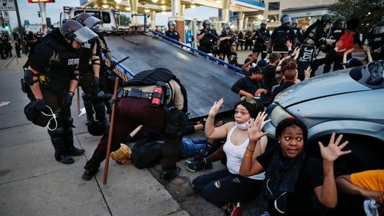 The image of Black Lives Matter was part of a series of photographs by The Associated Press that won the 2021 Pulitzer Prize for breaking news photography.(AP)