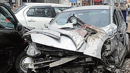 Two of the five cars that were damaged in the accident on Friday morning.(Sourced)