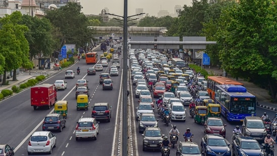 New Delhi: Traffic during evening rush-hour on a road after further ease in COVID-19 lockdown restrictions, in New Delhi, Tuesday, June 8, 2021. (PTI Photo / Manvender Vashist)