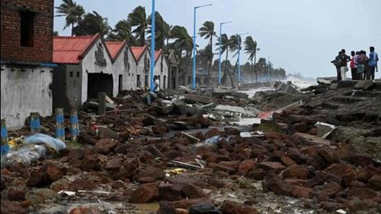 A damaged shoreline after Cyclone Yaas hit India's eastern coast in the Bay of Bengal, at a beach in Shankarpur, some 180 km from Kolkata on May 27. (File photo)