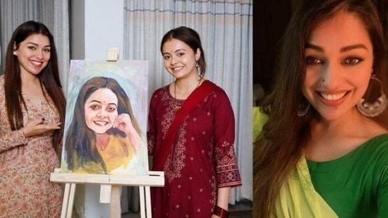 Paribhasha Mishra with her painting