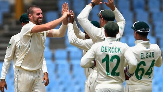 Anrich Nortje celebrates a wicket. (CSA/Twitter)