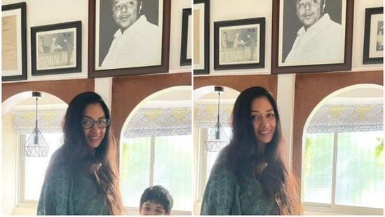 Rupali Ganguly with her son Rudransh.