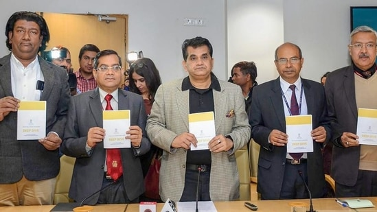 NITI Aayog CEO Amitabh Kant along with others releases the second Delta ranking under the Aspirational Districts Programme, in New Delhi,.(PTI FILE)