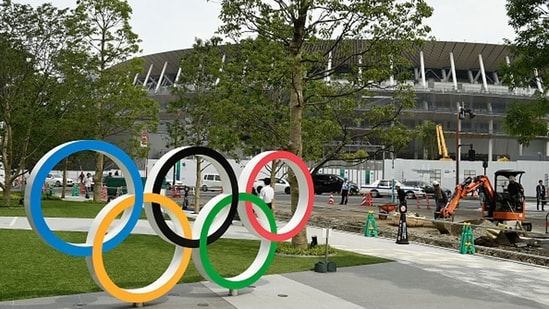 File Photo of the Olympics rings outside a stadium in Tokyo. (Getty Images)