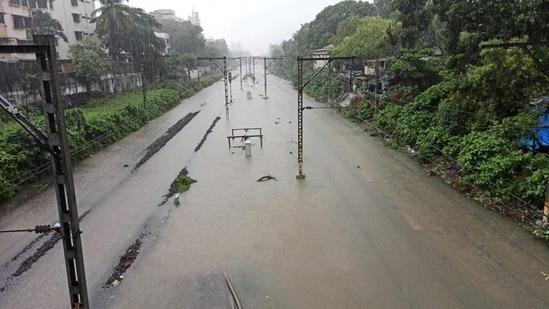 Waterlogging on railway track in Sion following heavy rain in Mumbai. (Satish Bate/HT photo)