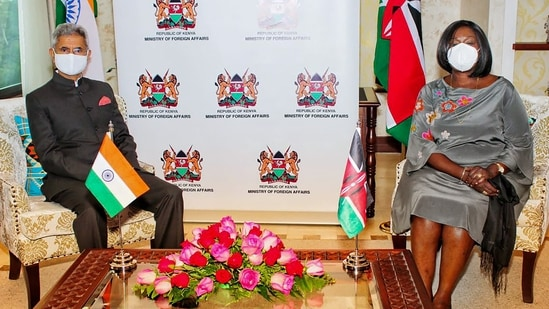 India and Kenya are currently serving in the United Nation Security Council. In picture - S Jaishankar meets Foreign Affairs Minister of Kenya Raychelle Omamo.(PTI)