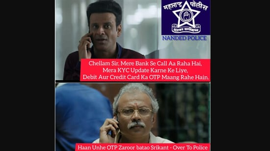 Meme shared by Nanded police featuring The Family Man 2 characters Srikant Tiwari and Chellam sir.(Twitter/@NandedPolice)