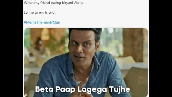 A Twitter user shared this #MemeTheFamilyMan featuring Manoj Bajpayee.(Twitter/@be_savegers)