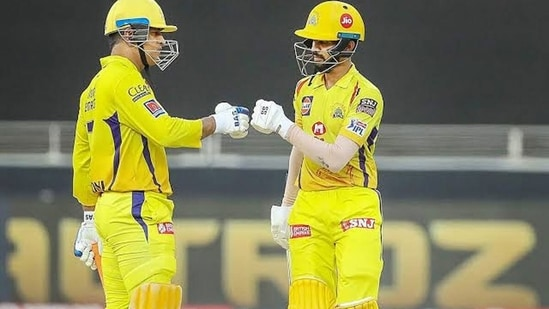 Ruturaj Gaikwad batting with MS Dhoni in IPL for CSK. (Getty Images)