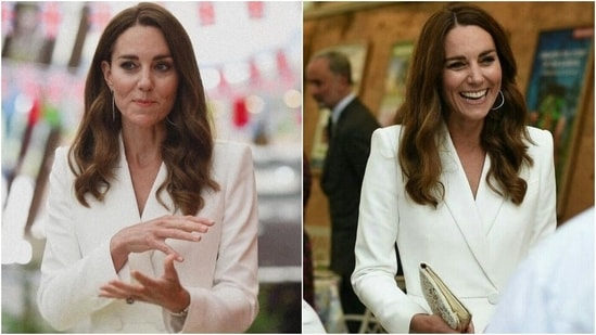 Kate Middleton is radiant in <span class='webrupee'>₹</span>3 lakh ivory coat dress at Eden Project Reception(Instagram/@kate.william.royals)
