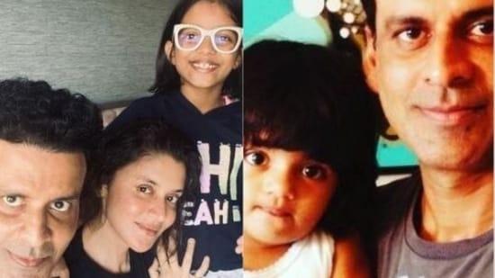 Manoj Bajpayee poses with wife, Shabana, and daughter Ava.