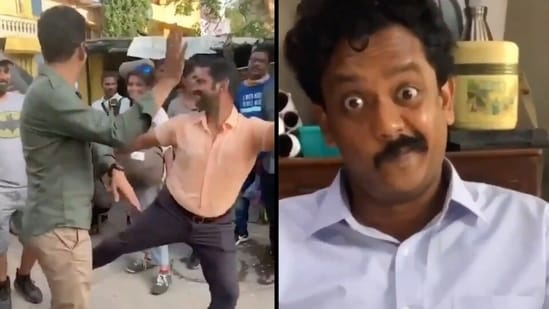 Manoj Bajpayee and Sharib Hashmi dance while Ravindra Vijay makes a goofy face.