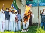 Kozhikode: LJD activists burn an effigy of Lakshadweep Administrator Praful Patel to protest against policy changes announced by him.(PTI)