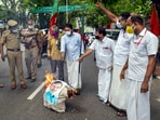 Social Democratic Party of India (SDPI) activists burn an effiggy of Lakshadweep Administrator Praful Khoda Patel outside Raj Bhavan, in solidarity with the people of Lakshadweep, in Thiruvananthapuram, Wednesday, June 2, 2021. (PTI)
