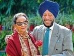 Nirmal Kaur with Milkha Singh (File photo)