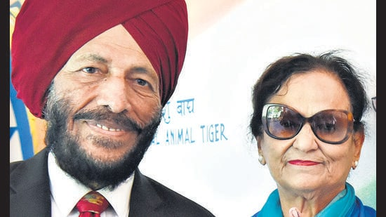 A file picture of Nirmal Kaur with husband Milkha Singh .