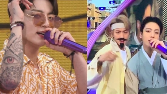 BTS members Jin and Jungkook at the BTS 2021 Muster Sowoozoo.