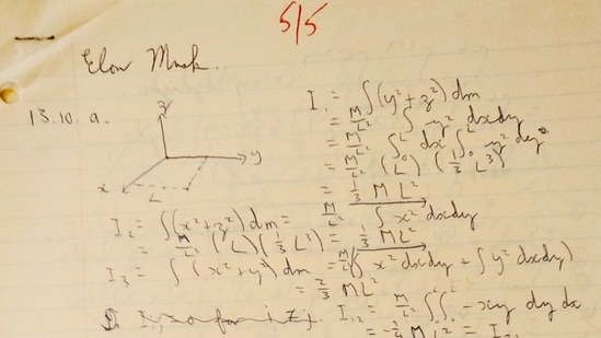 Elon Musk replied to the images of his homework from college days shared by a Twitter user.(Twitter/@elonmusk)