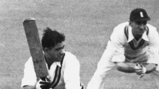 Vinoo Mankad batting for India against England in a Test match at Manchester in 1952.(Getty Images)