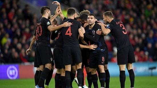 Croatian players celebrate during the Euro 2020 qualifiers. (Getty Images)