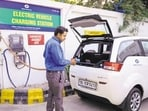 Last year, the Delhi government launched the EV policy which aims to ensure that in five years, 25% of all vehicles registered in national capital are e-vehicles.(Pradeep Gaur/ Mint)