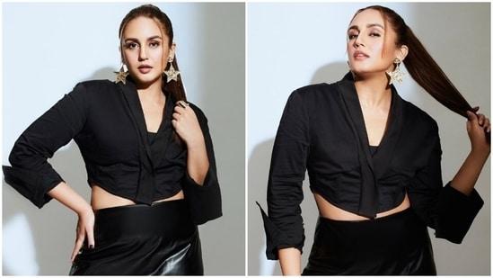Huma Qureshi in all-black crop blazer and faux leather mini skirt is magic(Instagram/@iamhumaq)