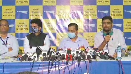 Earlier in the day, Gujarat's senior journalist Isudan Gadhvi joined the AAP, in the presence of Kejriwal.(ANI/Twitter)