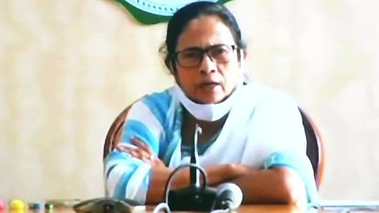 West Bengal chief minister Mamata Banerjee addresses a press conference on Monday.(ANI Photo)